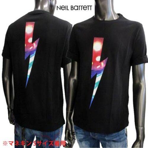 ニールバレット(Neil Barrett)メンズ トップス Tシャツ 半袖 ロゴ マルチカラーサンダーボルトロゴ・裾部分ロゴ付Tシャツ
