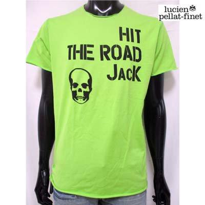 ルシアンペラフィネ(lucien pellat-finet) メンズ トップス Tシャツ 半袖 ロゴ メッセージ/スカルプリント付Tシャツ ライトグリーン