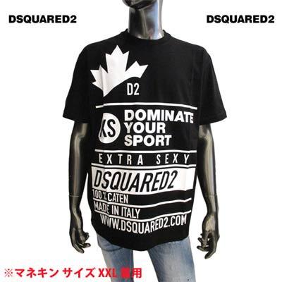ディースクエアード DSQUARED2 メンズ トップス Tシャツ 半袖 カットソー ロゴ カナダロゴ/D2ロゴ・ランゲージプリント付Tシャツ ブラック S74GD0824 S22427 900