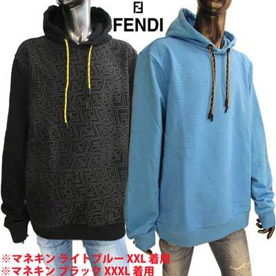 フェンディ FENDI メンズ パーカー フーディ トップス ロゴ 2color フロント/バックFF柄入りパーカー ブルー/ブラック FY1043 AGAC F1DO8 / F0QA1