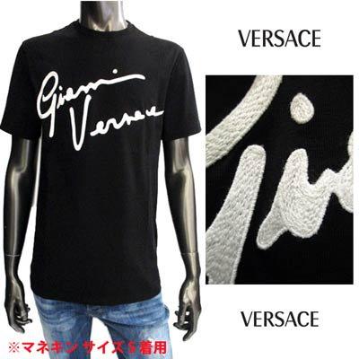 ヴェルサーチ(VERSACE) メンズ トップス Tシャツ 半袖 ロゴ GIANNI VERSACEロゴ刺繍