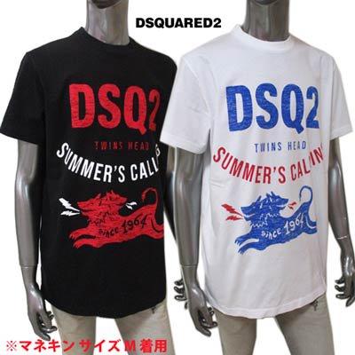 ディースクエアード(DSQUARED2) メンズ トップス Tシャツ 半袖 ロゴ カットソー 2color ツインヘッド/ケルベロスロゴ・DSQ2ロゴプリント付きTシャツ