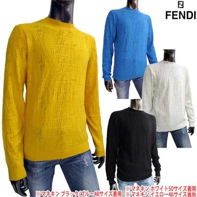 フェンディ FENDI メンズ トップス ニット セーター 4color レーヨン地・総柄FFズッカ柄透かし加工ライトニットセーター