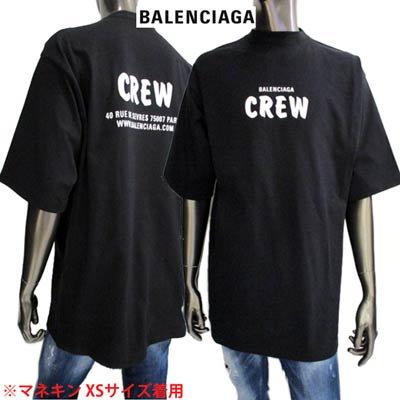 バレンシアガ(BALENCIAGA) メンズ トップス Tシャツ 半袖 ロゴ BALENCIAGA CREWロゴプリント付きオーバーサイズTシャツ ブラック