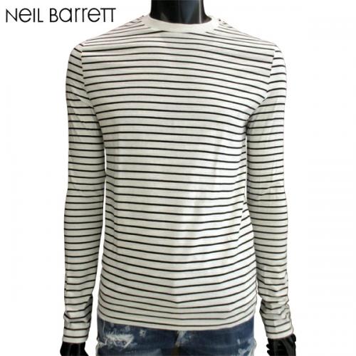 ニールバレット(Neil Barrett) メンズ トップス ロンT 長袖 ロゴ ボーダー柄・サンダーボルト入りロングTシャツ