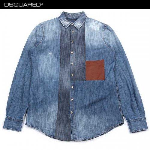 ディースクエアード(DSQUARED2) メンズ トップス シャツ 長袖 ロゴ レザーポケット付きデニムシャツS74DL0599 S30114 470