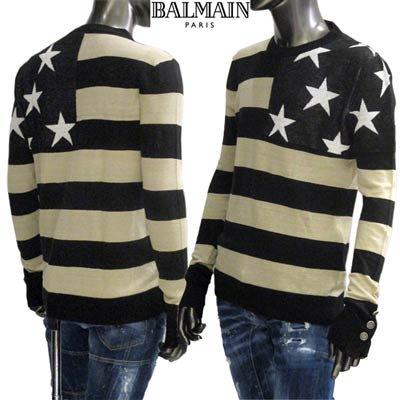 バルマン(BALMAIN) メンズ トップス ニット セーター ボーダー&スター柄・袖口ロゴ刻印ボタン付タイトニット ベージュ TH13236 K241 EAB