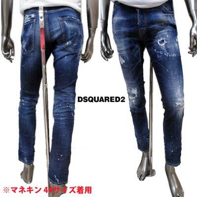 ディースクエアード(DSQUARED2) メンズ パンツ ボトムス デニム クラッシュ加工ロゴパッチ付きデニムパンツ ブルー S74LB0763 S30342 470
