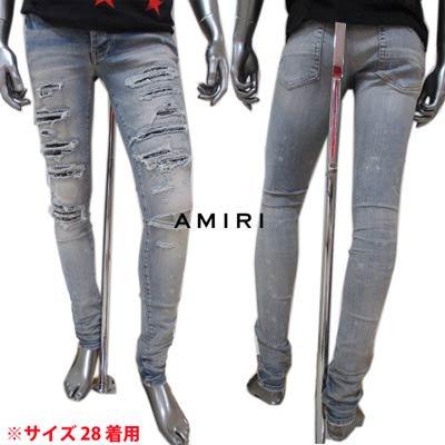 アミリ(AMIRI) メンズ パンツ ボトムス ロゴ クラッシュ加工/クラッシュ部分当て布付きデニムパンツ ブルー インディゴ MDS014 408 CLAY INDIGO