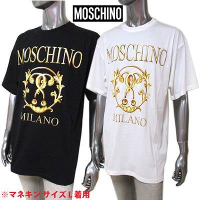 モスキーノ(MOSCHINO) メンズ トップス Tシャツ 半袖 ロゴ 2color MOSCHINOゴールドロゴプリント付Tシャツ 白/黒 A0718 5540 1002/1555