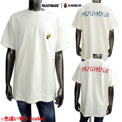 レディーメイド(READY MADE) メンズ トップス Tシャツ 半袖 ロゴ 3color APEロゴワッペン・バックカモ柄ロゴプリント付Tシャツ RE-AP-WH 00 00 01