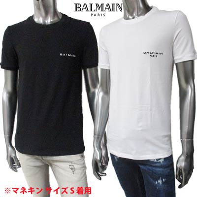 <img class='new_mark_img1' src='https://img.shop-pro.jp/img/new/icons1.gif' style='border:none;display:inline;margin:0px;padding:0px;width:auto;' />バルマン BALMAIN メンズ トップス Tシャツ 半袖 2color ※Vネックタイプもあります バイカラースモールロゴ刺繍付Tシャツ BRM205170 10012/00112 100/001