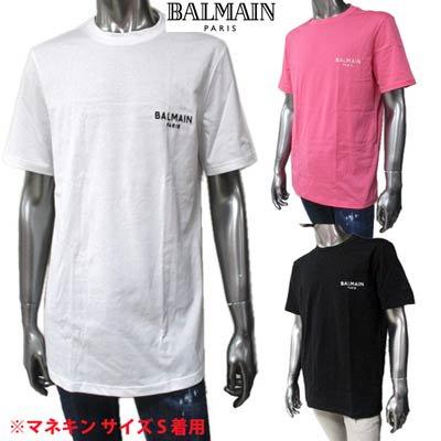 <img class='new_mark_img1' src='https://img.shop-pro.jp/img/new/icons1.gif' style='border:none;display:inline;margin:0px;padding:0px;width:auto;' />バルマン BALMAIN メンズ トップス Tシャツ 半袖 ロゴ 3color チェスト部分BALMAINスモールロゴ刺繍付きTシャツ 白/ピンク/黒 BRM305210 100/656/001