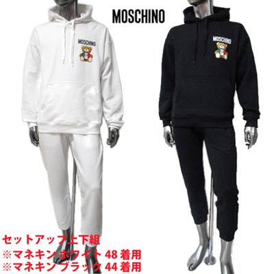 <img class='new_mark_img1' src='https://img.shop-pro.jp/img/new/icons1.gif' style='border:none;display:inline;margin:0px;padding:0px;width:auto;' />モスキーノ MOSCHINO メンズ セットアップ上下組 トップス パンツ 2color 転写ロゴ付セットアップ上下組ジャージ ZPV1734+ZPV0342 2027 1001/1555