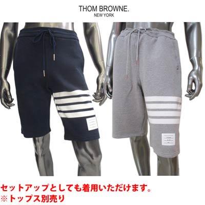 トムブラウン(THOM BROWNE) ンズ パンツ ボトムス ハーフパンツ ライン/裾タグ付きハーフスウェットパンツ MJQ012H 00535 461/068