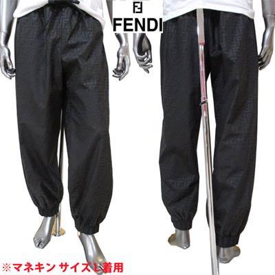 フェンディ(FENDI) メンズ パンツ ボトムス トラックパンツ ロゴ 総柄FFズッカ柄プリント付シャカシャカトラックパンツ ブラック FAB228 AERV F0GME
