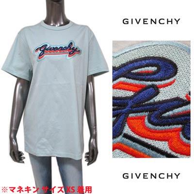 ジバンシー(GIVENCHY) レディース トップス Tシャツ 半袖 ロゴ フロントGIVENCHYロゴ刺繍ワッペン付Tシャツ ライトブルー BW707Z 3Z4V 451
