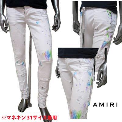 アミリ(AMIRI) メンズ パンツ ボトムス ロゴ クラッシュ/ペイント加工・ダブルニーパネル・ロゴ刻印ボタン・ロゴプレーツ付スキニーパンツ ホワイト F0M09156SD