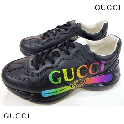 グッチ(GUCCI)メンズ 靴 スニーカー ロゴ ヴィンテージロゴ・オーロラカラーGUCCIロゴプリント・かかと部分ロゴ刻印付ハイテクスニーカー ブラック 552851 DRW00 1000