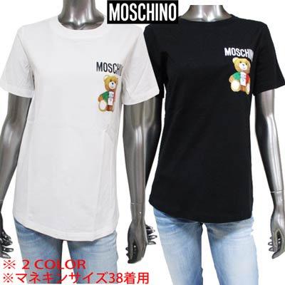 <img class='new_mark_img1' src='https://img.shop-pro.jp/img/new/icons1.gif' style='border:none;display:inline;margin:0px;padding:0px;width:auto;' />モスキーノ MOSCHINO レディース トップス Tシャツ 半袖 2color チェスト部分ロゴ・イタリア風BEARロゴプリント付きTシャツ 黒/白 EV0709 0540 1555/1001