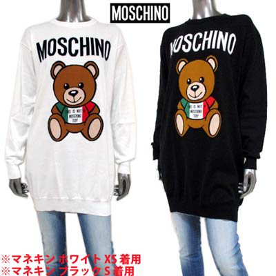 <img class='new_mark_img1' src='https://img.shop-pro.jp/img/new/icons1.gif' style='border:none;display:inline;margin:0px;padding:0px;width:auto;' />モスキーノ MOSCHINO レディース トップス ニット ワンピース ロゴ 2color BEARビッグロゴ付ライトニットワンピース 白/黒 A0485 0502 1002/1555