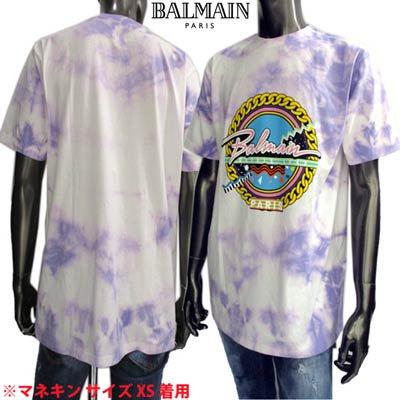 <img class='new_mark_img1' src='https://img.shop-pro.jp/img/new/icons1.gif' style='border:none;display:inline;margin:0px;padding:0px;width:auto;' />バルマン BALMAIN メンズ トップス Tシャツ 半袖 ロゴ タイダイ柄・フロントBALMAINポップロゴプリント付Tシャツ パープル VF11558 B503 QBF