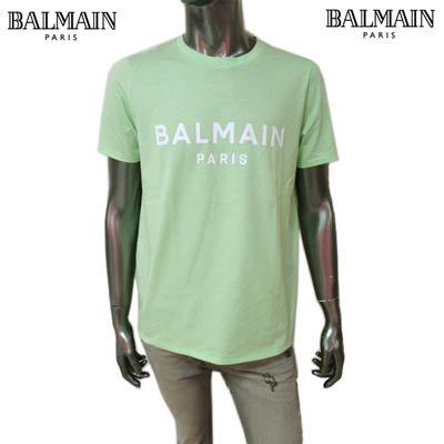 <img class='new_mark_img1' src='https://img.shop-pro.jp/img/new/icons1.gif' style='border:none;display:inline;margin:0px;padding:0px;width:auto;' />バルマン BALMAIN メンズ トップス Tシャツ 半袖 カットソー ロゴ BALMAIN PARISロゴプリント付きTシャツ ライトグリーン VF11350 B019 UAM