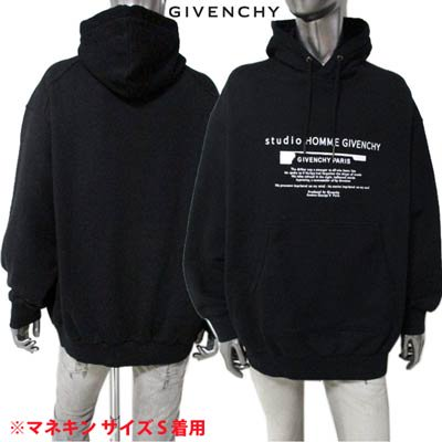 <img class='new_mark_img1' src='https://img.shop-pro.jp/img/new/icons1.gif' style='border:none;display:inline;margin:0px;padding:0px;width:auto;' />ジバンシー GIVENCHY メンズ トップス パーカー フーディー ロゴ GIVENCHYロゴ/ランゲージロゴプリント付パーカー ブラック BMJ0A6 305B 001