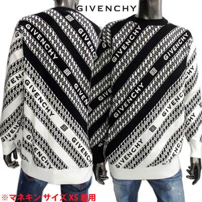 <img class='new_mark_img1' src='https://img.shop-pro.jp/img/new/icons1.gif' style='border:none;display:inline;margin:0px;padding:0px;width:auto;' />ジバンシー GIVENCHY メンズ トップス ニット セーター ロゴ バイカラー総柄GIVENCHYロゴデザイン付クルーネックニット 白 黒 BM90EZ 4Y7A 004