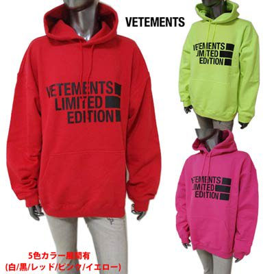 <img class='new_mark_img1' src='https://img.shop-pro.jp/img/new/icons1.gif' style='border:none;display:inline;margin:0px;padding:0px;width:auto;' />ヴェトモン VETEMENTS メンズ フーディ パーカー 5色展開 ロゴ・フードロゴ刺繍付オーバーサイズパーカー UE51TR820R/P/Y 1604 RED/PINK/YELLOW