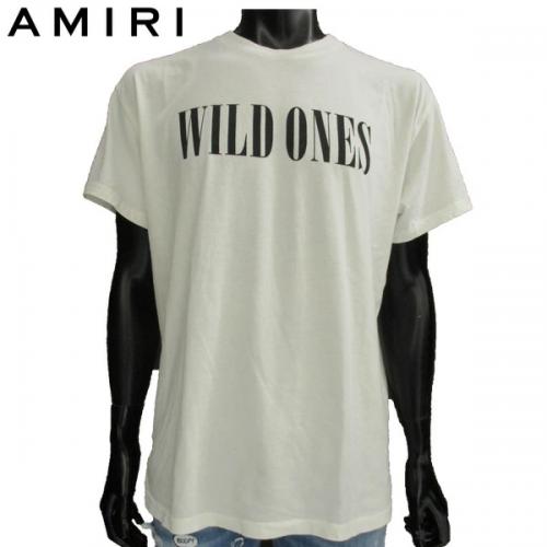 アミリ AMIRI メンズ トップス 半袖 Tシャツ ロゴ カットソー フロントWILD ONESロゴプリント付Tシャツ ホワイト MTSST WLD WH/BK 81A