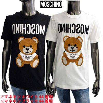 モスキーノ MOSCHINO メンズ トップス Tシャツ 半袖 ロゴ 2color MOSCHINO BEAR刺繍ロゴ付きTシャツ 白/黒 ZDA0774 240 1001/1555