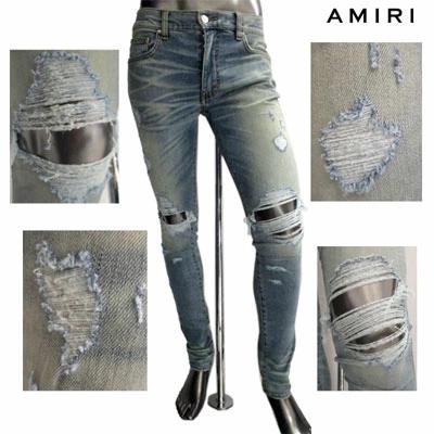 アミリ AMIRI メンズ パンツ ボトムス デニム デストロイクラッシュ加工・ボタンロゴ刻印付スキニーパンツ インディゴ ブルー MBTHR DES CLASSIC INDIGO