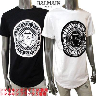 バルマン BALMAIN メンズ トップス Tシャツ 半袖 ロゴ 2color BALMAINメダリオンロゴ・裾ラウンドTシャツ 白/黒 VH1EF010 B030 0FA/0PA