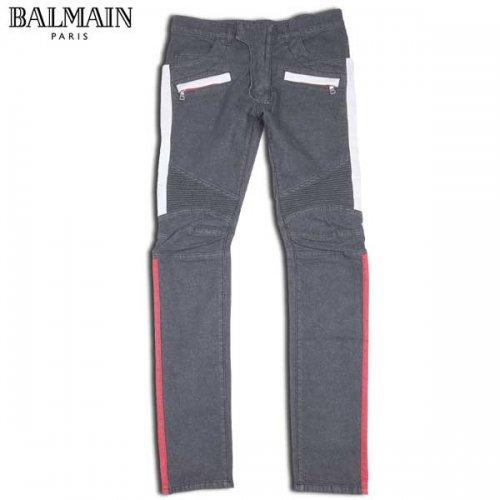 バルマン BALMAIN メンズ ボトムス デニムパンツ ジーンズ サイドレッド/ホワイトライン・ロゴ・ジップポケット付きデニムパンツ S5HT551 C831T 176 15S