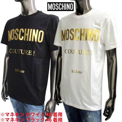 モスキーノ MOSCHINO メンズ トップス Tシャツ 半袖 ロゴ 2color フロントMOSCHINOゴールドロゴワッペン付きTシャツ 白/黒 ZDA0771 0240 1001/1555