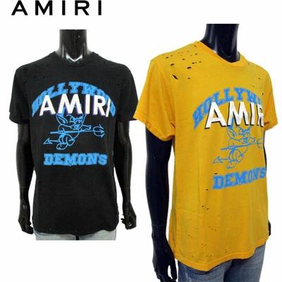 アミリ(AMIRI) メンズ トップス Tシャツ 半袖 ロゴ 2color ダメージ加工・HOLLYWOOD DEMONS・AMIRIロゴプリント付きTシャツ