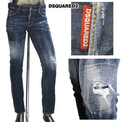 ディースクエアード(DSQUARED2) メンズ パンツ デニム ロゴ ペンキ・クラッシュ加工・マルチロゴレザーパッチ付デニムパンツ インディゴ ネイビー S74LB0598 S30342 4