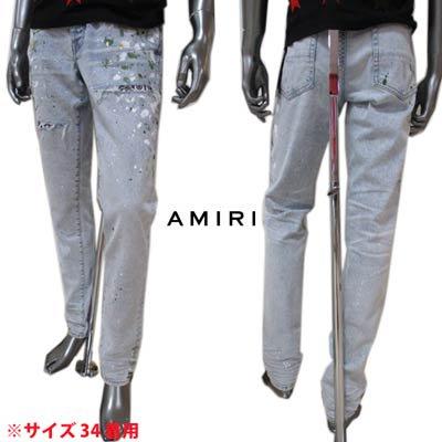 アミリ(AMIRI) メンズ パンツ ボトムス ロゴ ペイント/クラッシュ加工・クラッシュ部分ペイズリー柄当て布付デニムパンツ ブルー MDS013 421