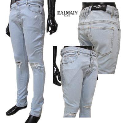 バルマン(BALMAIN) メンズ パンツ ボトムス デニム ロゴ ダメージ/クラッシュ加工・ロゴ刻印ボタン・Bロゴ刺繍入りスリムデニムパンツ ライトブルー TH05230 Z009 6AA