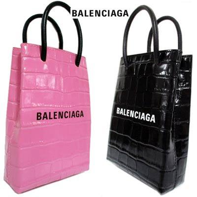 バレンシアガ(BALENCIAGA) レディース 鞄 バッグ ミニバッグ トートバッグ ロゴ 2color 2WAY・クロコ型押し加工・ロゴ付きカーフレザー 593826 1U61N