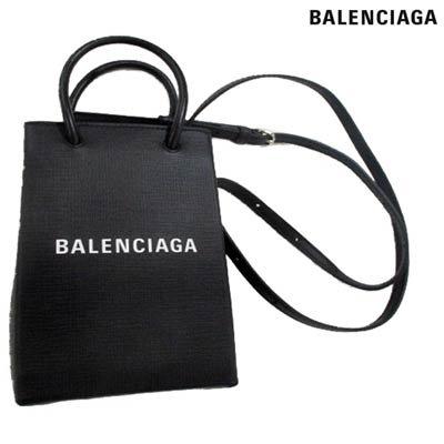 バレンシアガ(BALENCIAGA) レディース 鞄 バッグ 2WAYバッグ ロゴ ユニセックス可 BALENCIAGAロゴ付きレザー2WAYミニバッグ ブラック 593826 0AI2N 100