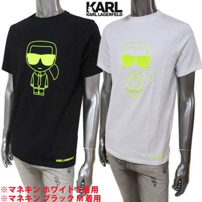 カールラガーフェルド(KARL LAGERFELD) メンズ トップス Tシャツ 半袖 ロゴ 2color ネオンカラーKARL LAGERFELDラバーロゴ・裾部分ロゴ 755091 51122