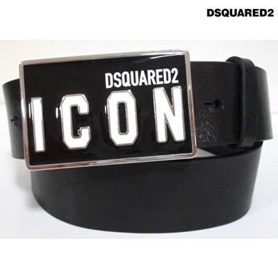 ディースクエアード(DSQUARED2) メンズ 小物 ベルト レザーベルト ロゴ DSQUARED2 ICONロゴバックル付きレザーベルト ブラック BEM0326 12900001 M436