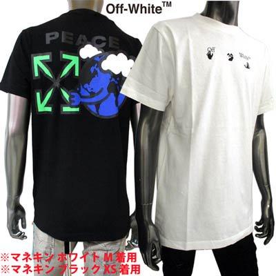 フホワイト(OFF-WHITE) メンズ トップス Tシャツ 半袖 ロゴ 2color ハンドロゴ・バックスモールアロー/PEACE EARTHロゴ付きTシャツ OMAA027R 21JER009