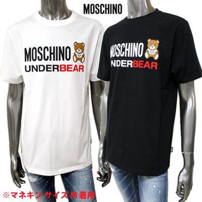 モスキーノ(MOSCHINO) メンズ トップス Tシャツ 半袖 ロゴ 2color 裾ロゴタグ・MOSCHINO BEARロゴプリント付きTシャツ A1914 8107