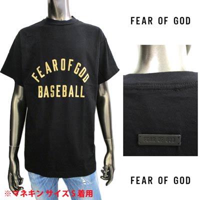 フィアオブゴッド(FEAR OF GOD) メンズ トップス Tシャツ 半袖 ロゴ フェルト素材FEAR OF GODロゴ・バックレザーロゴ付きTシャツ ブラック FG50 063CTJ 001