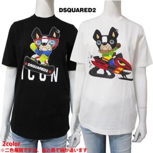 ディースクエアード DSQUARED2 レディース トップス Tシャツ ※2色展開ですが、白と黒で柄が違います ICON/dogロゴT S80GC0031 S23029