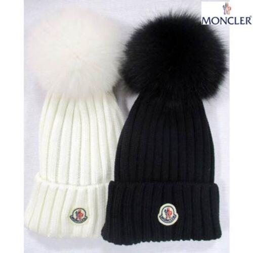 モンクレール MONCLER レディース 帽子 ニット帽 ニットキャップ ロゴ 2color ウール/フォックスファー使用