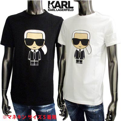 カールラガーフェルド KARL LAGERFELD メンズ トップス Tシャツ 半袖 ロゴ 2color フロントロゴ刺繍付きTシャツ 黒/白 755060 511250 990/10